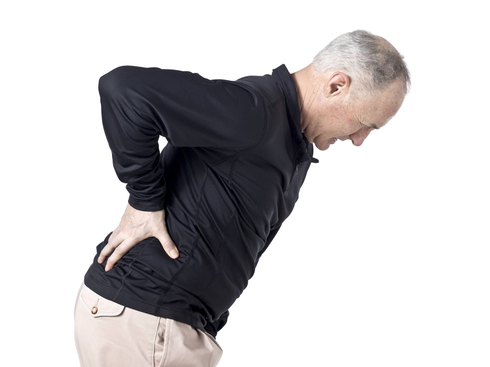 Image of a senior man having a back pain against white background