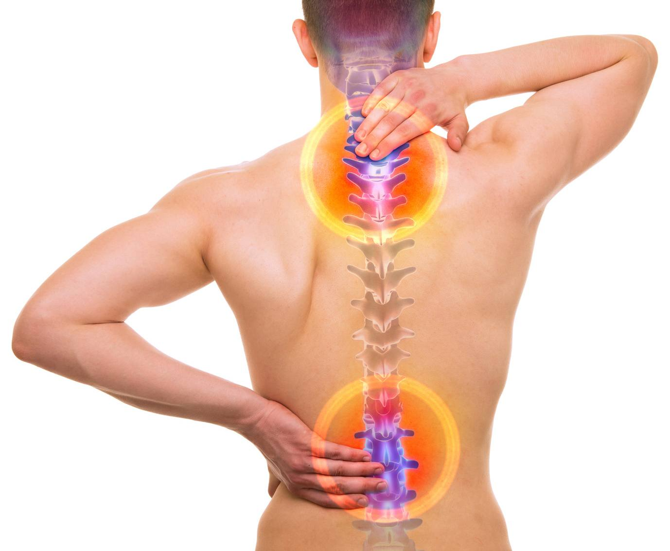 SPINE Pain - Male Hurt Backbone isolated on white - REAL Anatomy concept